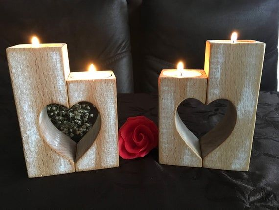 Wooden Candle Holders Set Of 2 Wood Candlestick Holders Rustic Hearts Mothers Day Gift Wedding Gift Home Decorations Tealight Candle Holder Wooden Candle Holders Candle Holders Wood Candle Holders