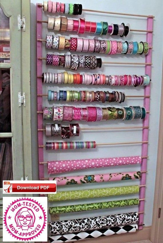Craft Room Oganizer Plan Ribbon Holder Plan Wrapping Paper Holder
