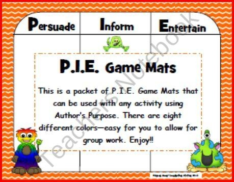 FREE Author's Purpose Game Mats product from Imagination-Station on TeachersNotebook.com