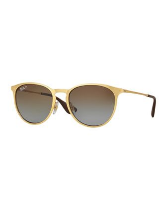 Erika Rounded Square Polarized Sunglasses, Gold by Ray-Ban at Neiman Marcus.