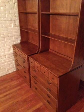 Pair Of Matching Heirloom Ethan Allen Maple Hutch OrBookcases