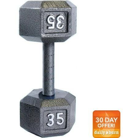 CAP Barbell Cast Iron Hex Dumbbell, Single, Size: 35 lb. Get the most out of your bodybuilding and fitness workouts with the Cap Barbell Cast Iron Dumbbell. Available in a pair of two, you can use this Cap Barbell dumbbell set to work out all major muscle groups such as the chest, arms, back, and legs. They are fabricated from superior quality materials and are designed to last longer. The Cap Barbell Dumbbell has a semi gloss finish that prevents rust and the paint does not chip off…