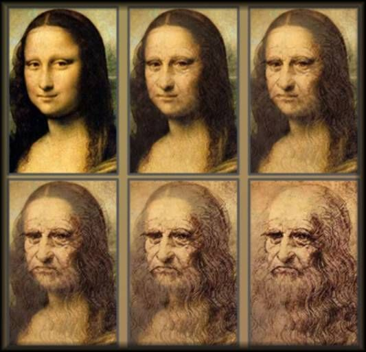 Mona Lisa morphing into Leonardo DaVinci - from norma-pages blog;  Could DaVinci have just made a self-portrait of a younger female version of himself?  Hmmm....