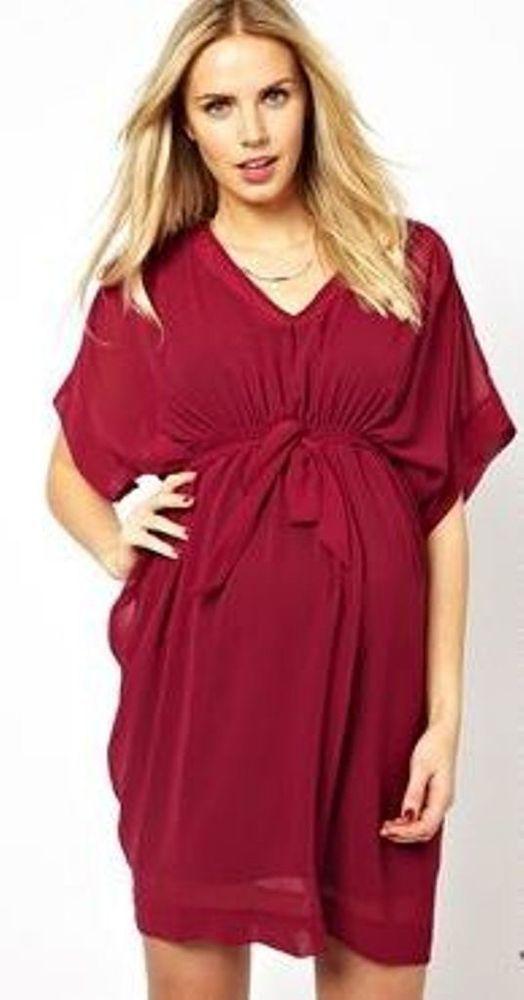 ASOS Maternity Exclusive Kimono Dress (Oxblood) UK Size:14 RRP £40.00