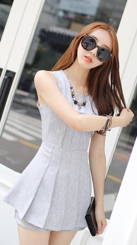 Luxe Asian Korean Women Fashion Edge Gray Ivory Dress