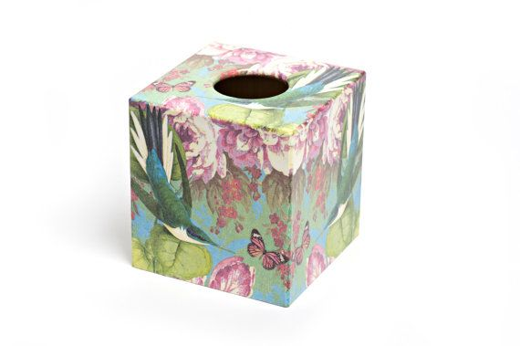 Humming Bird Design Tissue Box Cover by Crackpots - Wooden Handmade