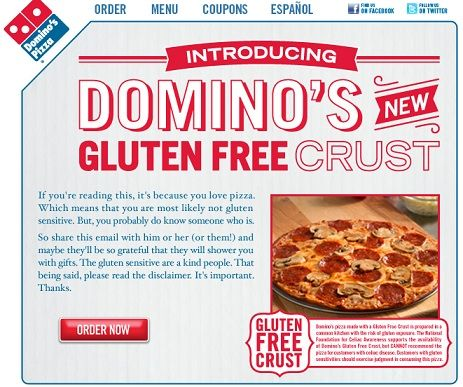 Domino's are so-called using gluten free ingredients to make the crust, however no extra effort is used to avoid contamination along side the regular dough. Description from mediascoop247.wordpress.com. I searched for this on bing.com/images
