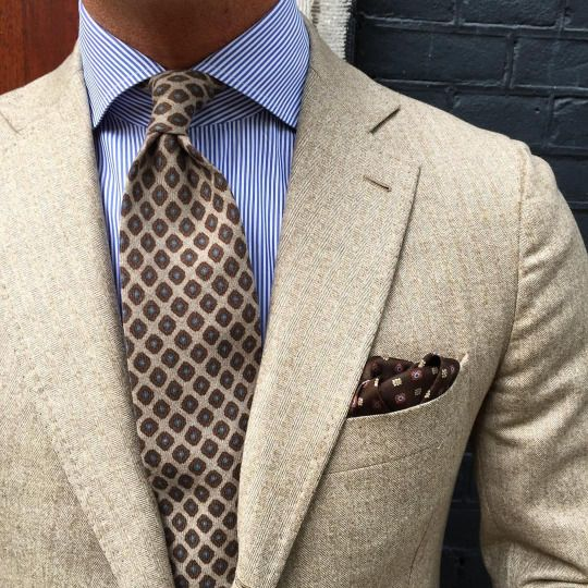 "Viola Milano ""Multipattern Self-tip wool - Sand"" tie & handrolled ""Sand Pattern"" silk pocket square…"