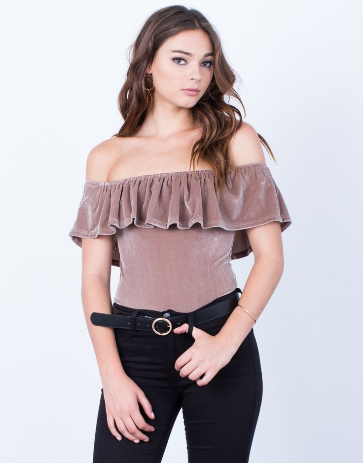 Get in touch with your romantic side in this Velvet Bodysuit. Comes in a black or taupe color of your choice. Made from a super soft velvet material giving you a lightweight and comfy fit. Features an