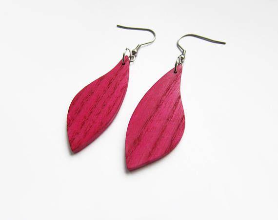 Wooden earrings magenta earrings pink earrings lila