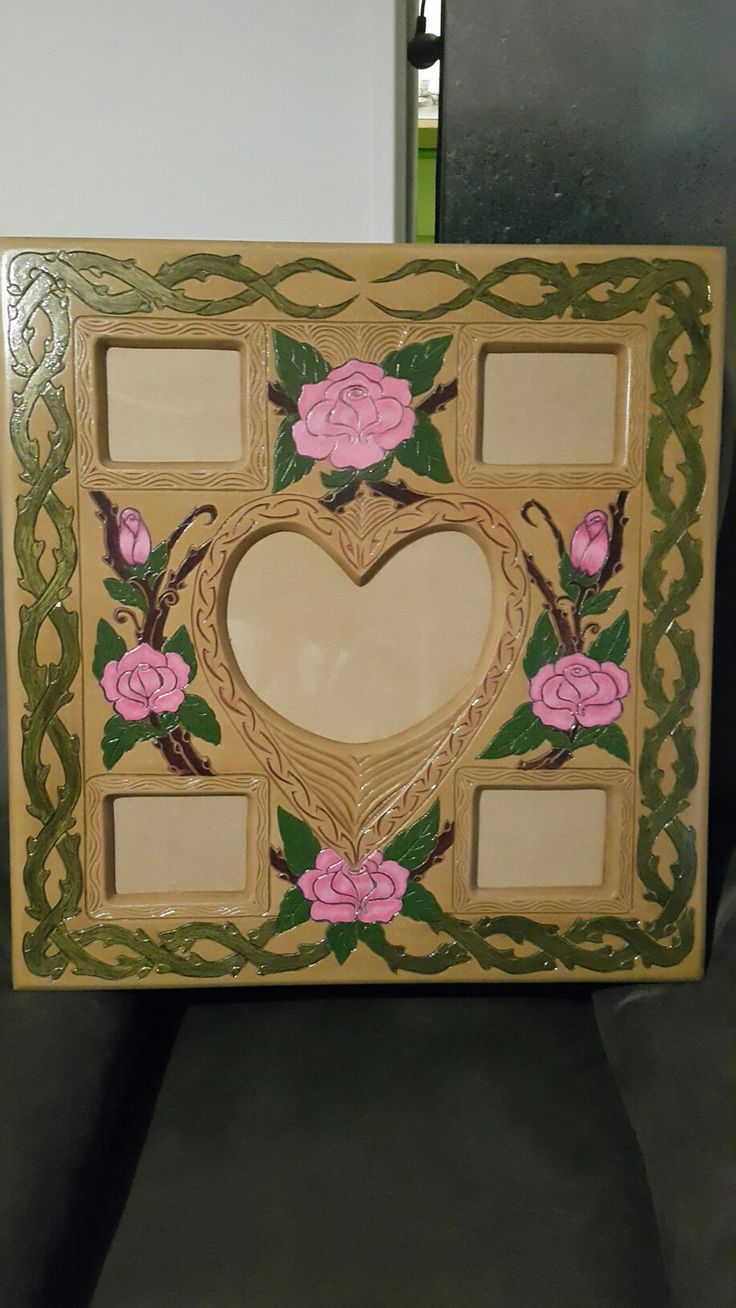 Photo frame carving with painted roses of your choice