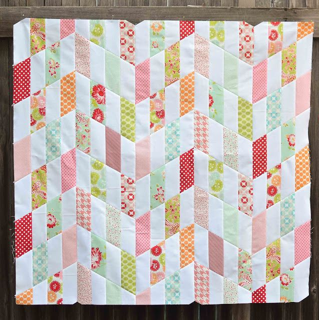 Chevron Quilt Pattern Using Jelly Roll : striped chevrons quilt top (and tutorial) Quilt Block Tutorials Pinterest Jelly, Baby ...