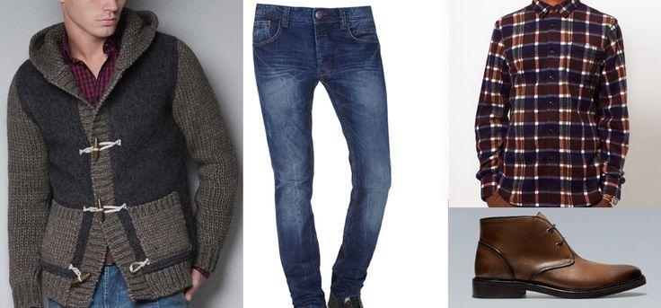 Chaqueta de Punto - Zara  Jeans Vaqueros - Blanco  Camisa - Asos   Botines - Zara
