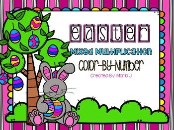 mixed multiplication color-by-number easter themed!