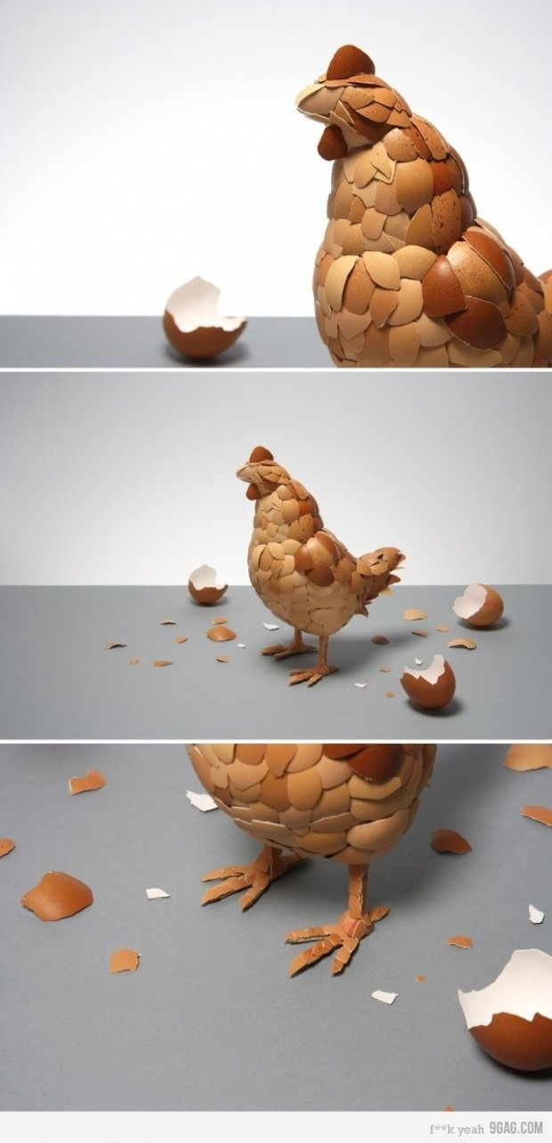 """What Came First?"" is a sculpture of a chicken by British artist Kyle Bean made of eggshells."