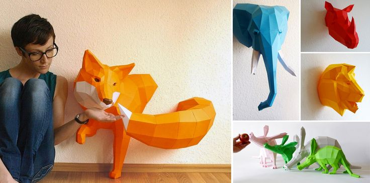Stuttgart-based designer Wolfram Kampffmeyer creates DIY geometric paper sculpture kits under the name Paperwolf. The designs range from taxidermy trophies to standalone animals that come flat-packed with detailed instructions on how to fold and assemble yourself. See tons of addit