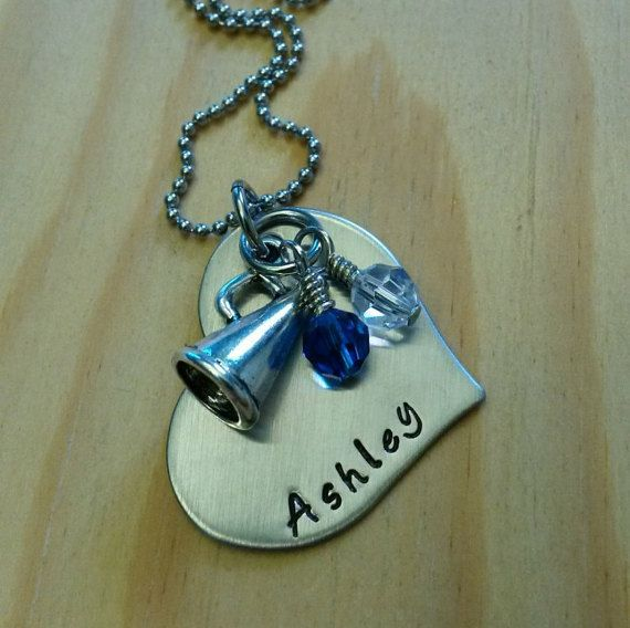 Hand Stamped Personalized Cheer Necklace - Cheerleading -  Team Colors - Cheer team gift - You Pick Colors