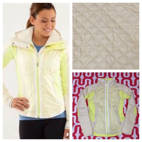 Lululemon Run: Bundle Up Jacket - removable hood Clarity Yellow. Excellent preloved condition. Removable hood, part of Luxchange technology, can be zipped into other Luxchange friendly products. Cozy, high loft stretch fleece. Goose down. Reflective details. Body skimming. Water resistant panels at the hem, sleeves and front. No trades. No PayPal. lululemon athletica Jackets & Coats