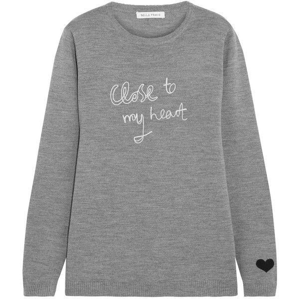 Bella Freud Close To My Heart embroidered merino wool sweater ($355) ❤ liked on Polyvore featuring tops, sweaters, grey, embroidered sweaters, bella freud, gray heart sweater, heart sweater and grey sweater