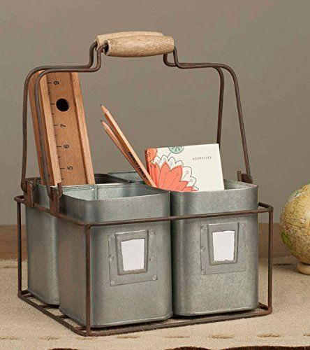 Vintage Rustic Metal Tin Caddy Handy Desk Stationery Utensil Organizer Holder | Home & Garden, Household Supplies & Cleaning, Home Organization | eBay!