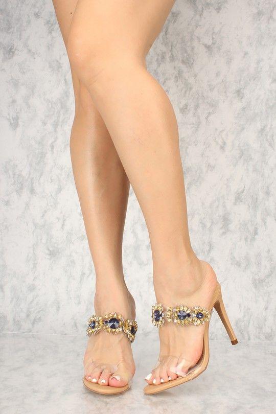 446a3b077e17 Sexy Nude Gemstone Open Toe Single Sole High Heels