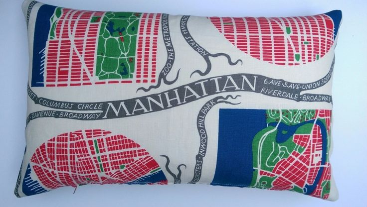 Large rectangular cushion made from 100% linen fabric designed by the Austrian born designer Josef Frank in the 1940's
