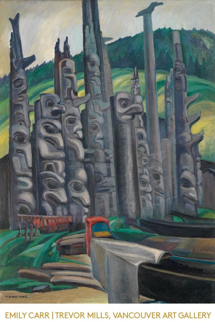 Totem Forest (1930) by Emily Carr (1871-1945). Emily Carr was the first West Coast artist to approach First Nations people, and their communities, culture and artifacts as a serious subject of artistic study.