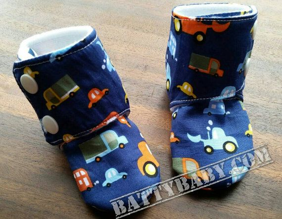 3-6 month size - Navy blue digger trucks, fleece lined stay on baby booties