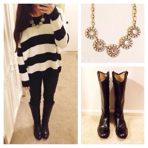 Oversized black and white striped sweater (Tobi) Black pants (JCrew