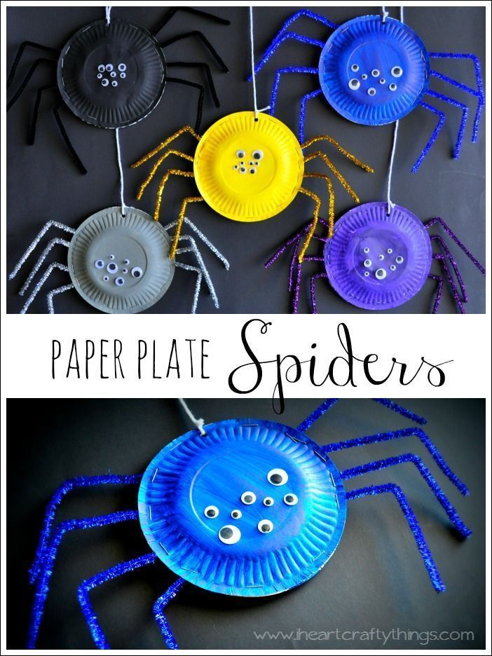 paper plate spiders basteln mit pappteller. Black Bedroom Furniture Sets. Home Design Ideas
