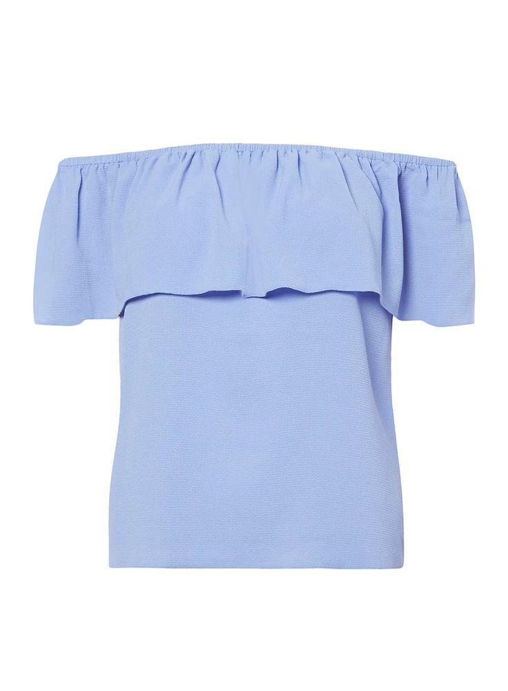 Womens Petite Blue Ruched Bardot Top- Blue