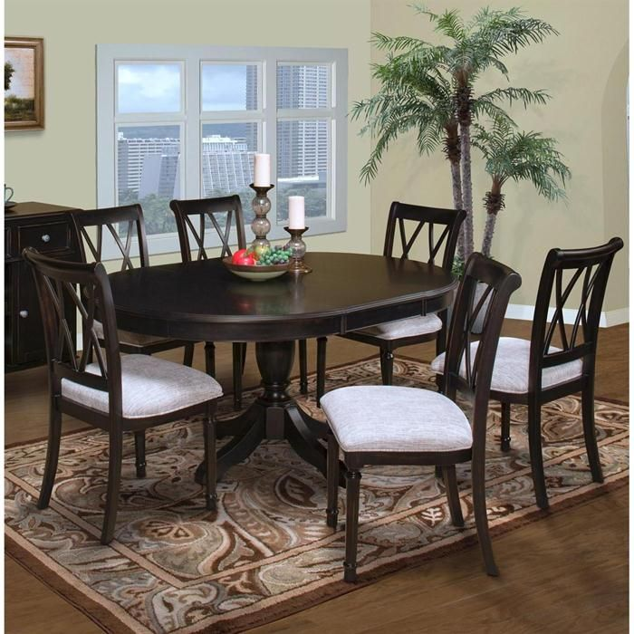 Maryhill 7 Piece Round Dining Set In Rubbed Black