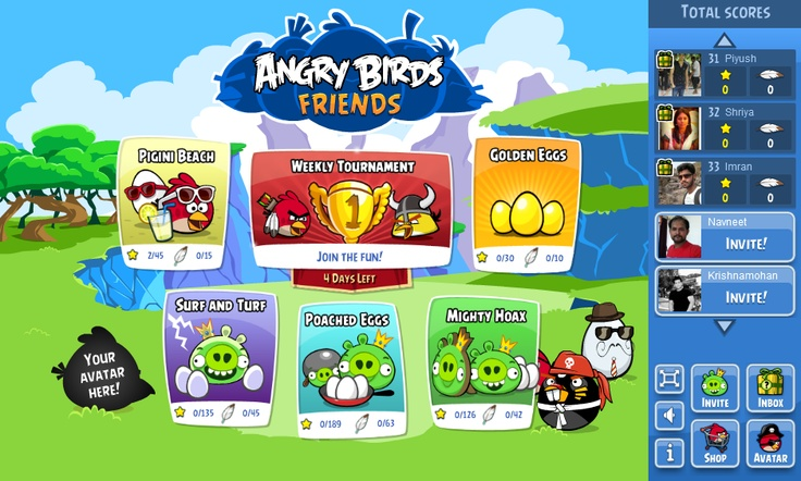 Angry Birds Game Interface