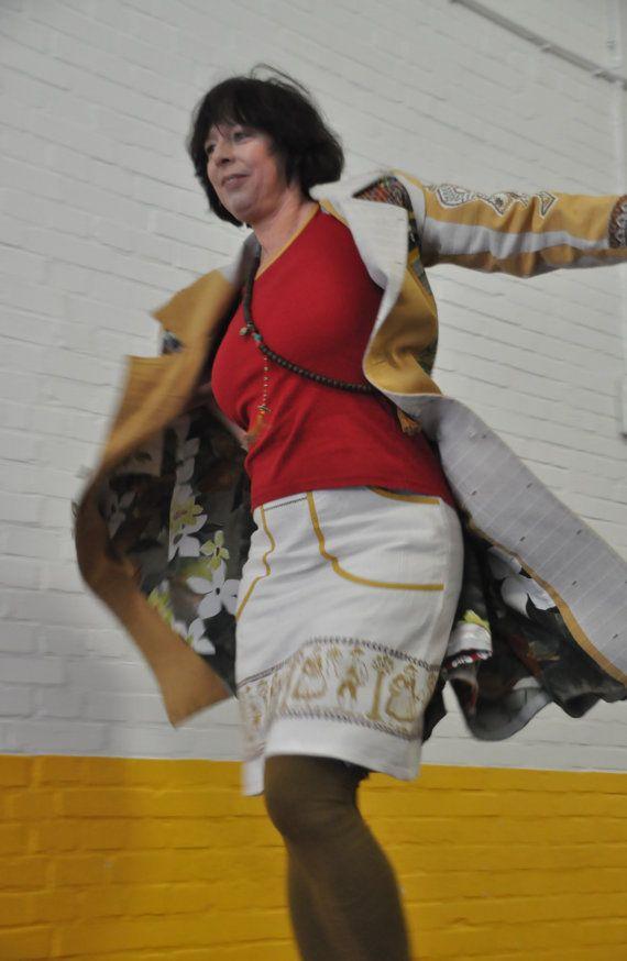 Vintage Linnen Tafelkleed Rok  A-lijn rok upcycled door LUREaLURE