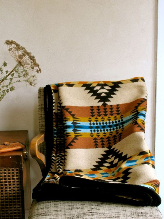 Wool Blanket in Gold Black Turquoise Ranch Arroyo von ohthisnose