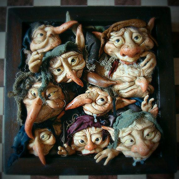 RESERVED Two Custom OOAK Goblin 3D Hanging Wall Art by FaunleyFae