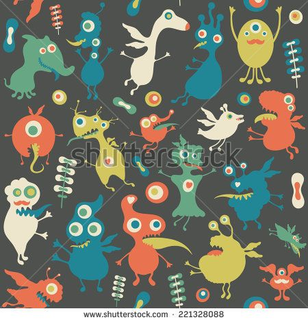 Retro seamless pattern with monsters and flowers. #monsters #monsterillustration #vectorpattern #patterndesign #seamlesspattern