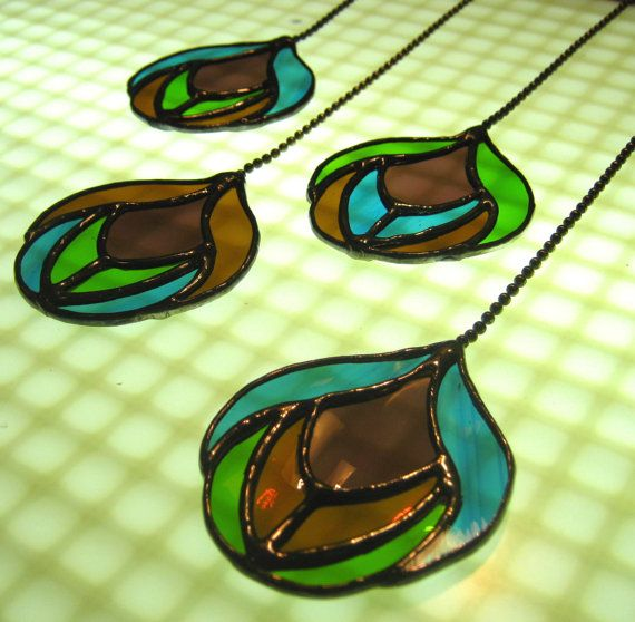 Stained Glass Peacock Feather Pendants