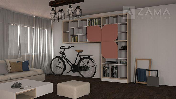 Študentská izba so zaujímavo riešenou knižnicou v drevenom dekore s dvierkami
