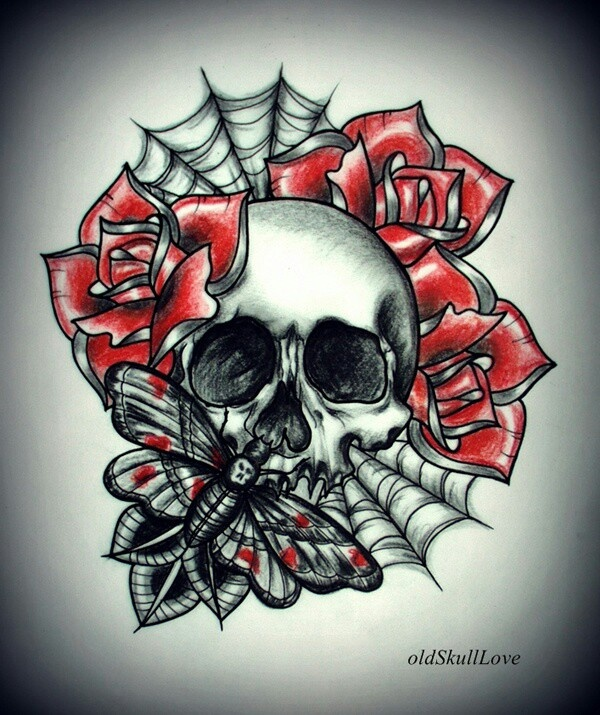 skull and roses tattoos piercings pinterest love this skulls and roses and roses. Black Bedroom Furniture Sets. Home Design Ideas