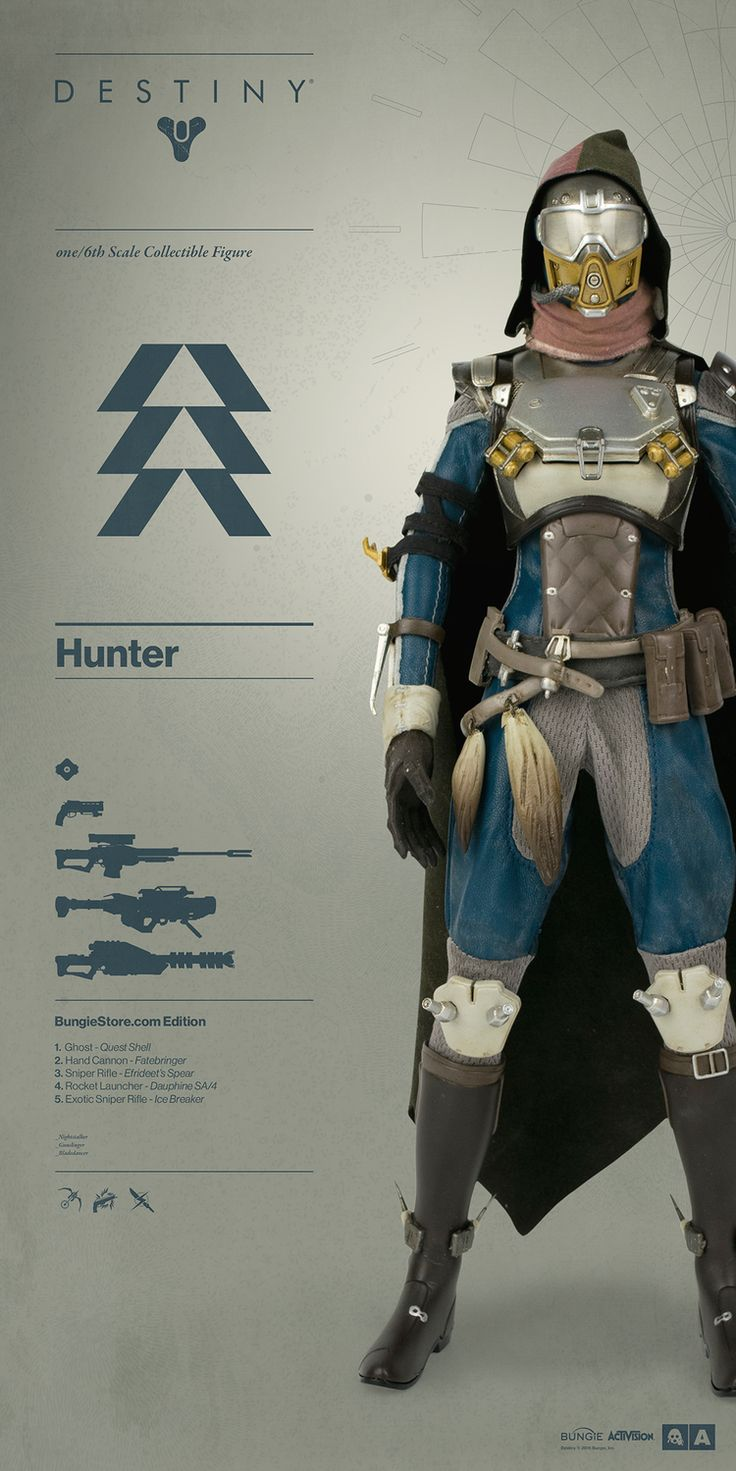 Destiny Hunter Bungie Store Exclusive Edition! Everything you need to know about Destiny Hunter pre-order on July 21st: http://www.worldofthreea.com/threea-production-blog/destinyhunter The Hunter comes in three exclusive editions – each edition comes complete with Ghost and are outfitted in shaders, armor, cloaks, and an array of weaponry curated by 3A and the team at Bungie. #threeA #WorldOf3A #WO3A #Bungie #Destiny #DestinyTheGame #DestinyHunter