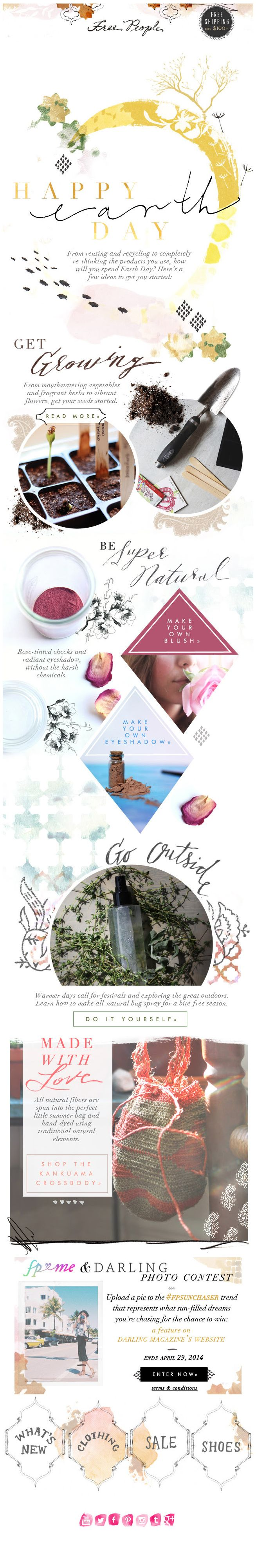 Free People : Earth Day newsletter, email design.