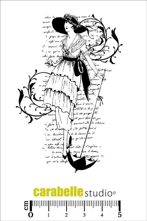 Tampon scrapbooking en Caoutchouc blanc monté sur mousse électrostatique EZ Mount A7. Thème Mode féminine. Collage texte et illustration.