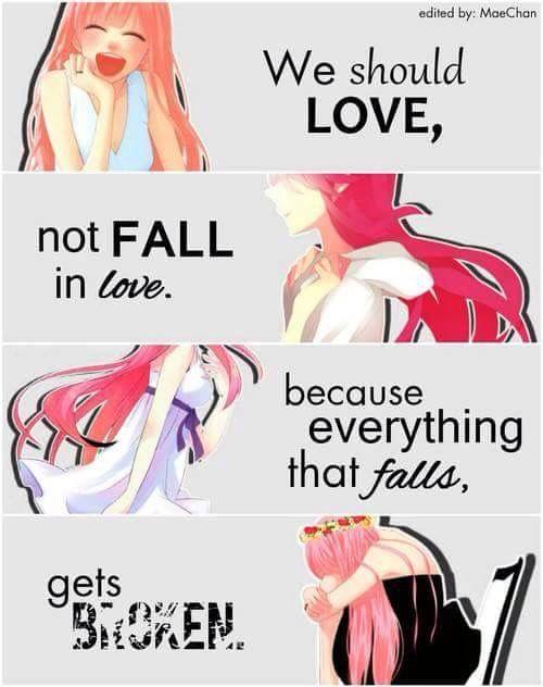 || En vez de enamorarnos (caer en el amor), deberíamos querer/amar, porque todo lo que se cae se rompe. | Traducción ES: @sukigamer88 ||