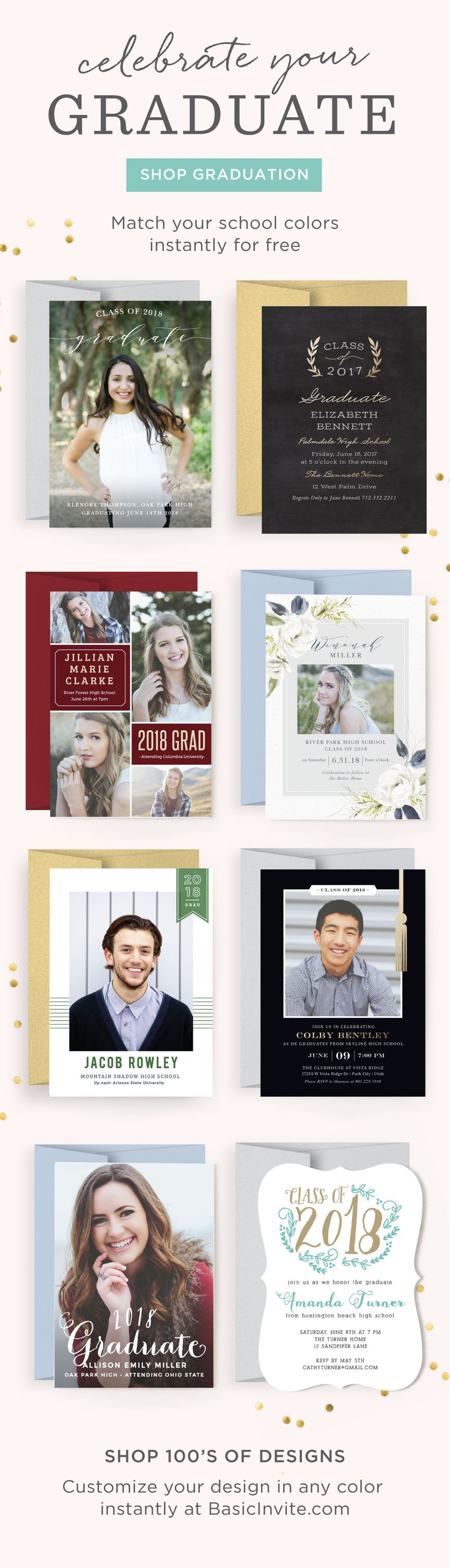 Celebrate your soon-to-be grad with Basic Invite's new line of completely customizable graduation invitations. With so many themes, color options and fonts on our easy to use website, the hardest part will be choosing just one!