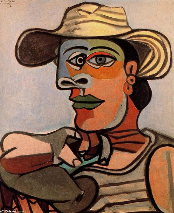 The sailor, Oil On Canvas by Pablo Picasso (1881-1973, Spain) #OilonCanvas #Sailor #ExtraordinaryPicasso