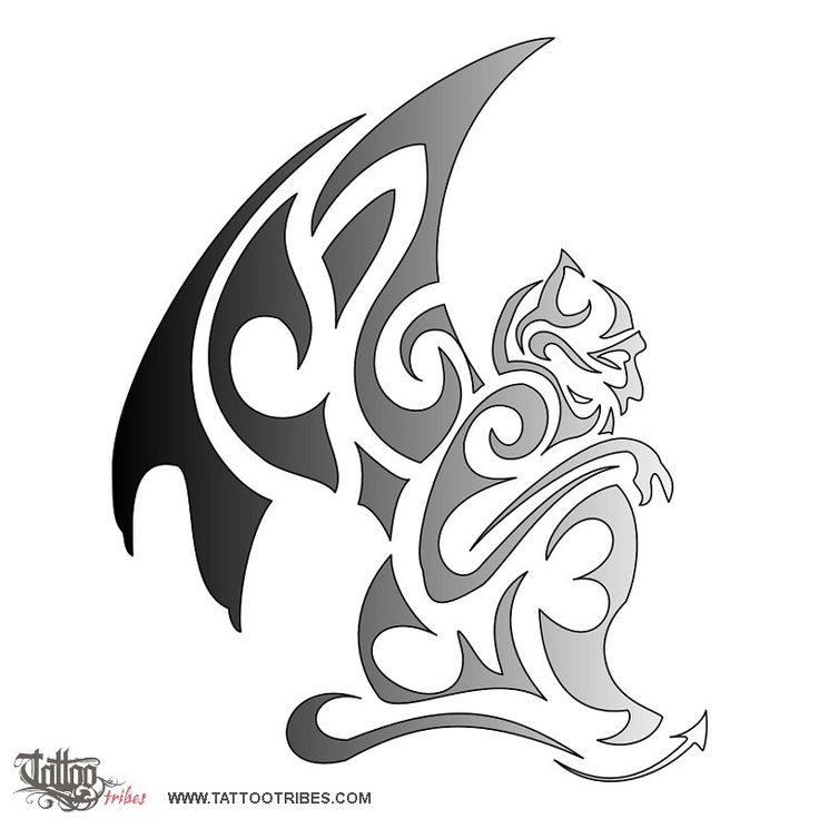 Gargoyle Tattoo Designs | Grey Ink Tribal Gargoyle Tattoo ...