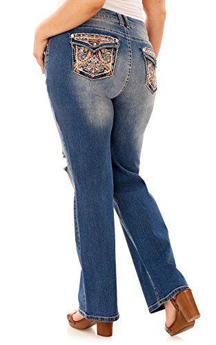 3122a37e784cc WallFlower Plus Size Luscious Curvy Bling Bootcut Jeans In Elsie