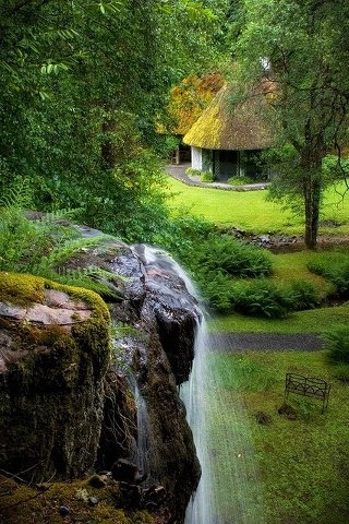 Kilfane Glen in Kilkenny County, Ireland. Influenced by Rousseau and the Romantic movement of the late 18th century, Kilfane Glen is a rugged but beautiful 6-hectare garden that has retained its original character as conceived by the prominent Power family in the 1790s. http://www.discoverireland.ie/Arts-Culture-Heritage/kilfane-glen-waterfall/407