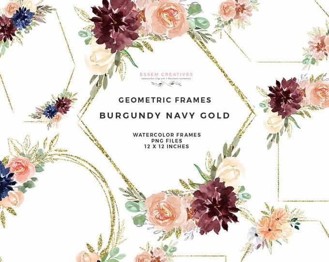 Fall Watercolor Flowers Clipart Boho Chic Floral Wreaths Geometric Frames Burgundy Navy Flowers Png Peony Wedding Clip Art Fall Clipart Fall Watercolor Watercolor Flowers Wedding Clipart